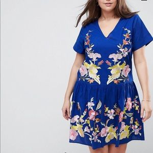 ASOS CURVE Embroidered Blue Dress!